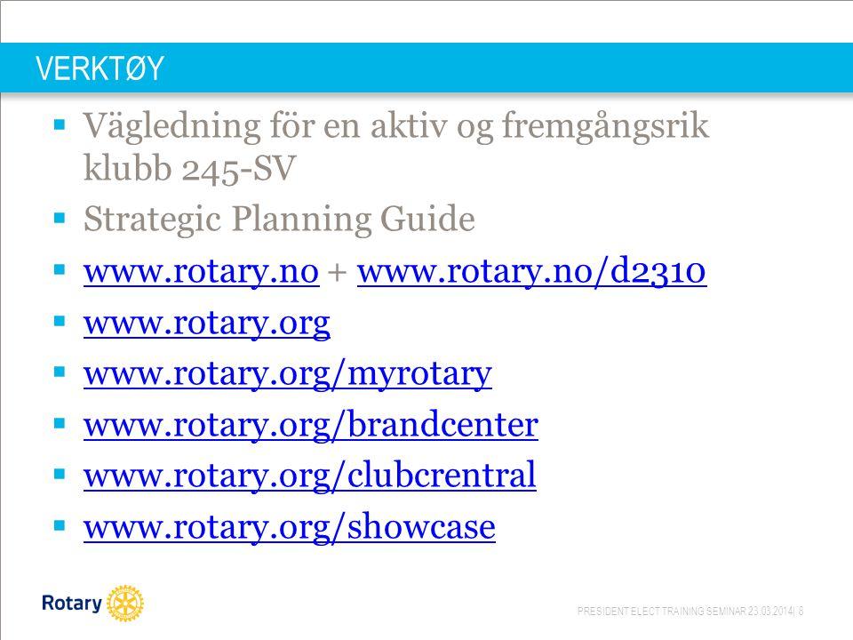 PRESIDENT ELECT TRAINING SEMINAR 23.03.2014| 8 VERKTØY  Vägledning för en aktiv og fremgångsrik klubb 245-SV  Strategic Planning Guide  www.rotary.