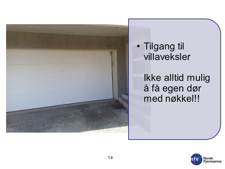 14 •Tilgang til villaveksler Ikke alltid mulig å få egen dør med nøkkel!!