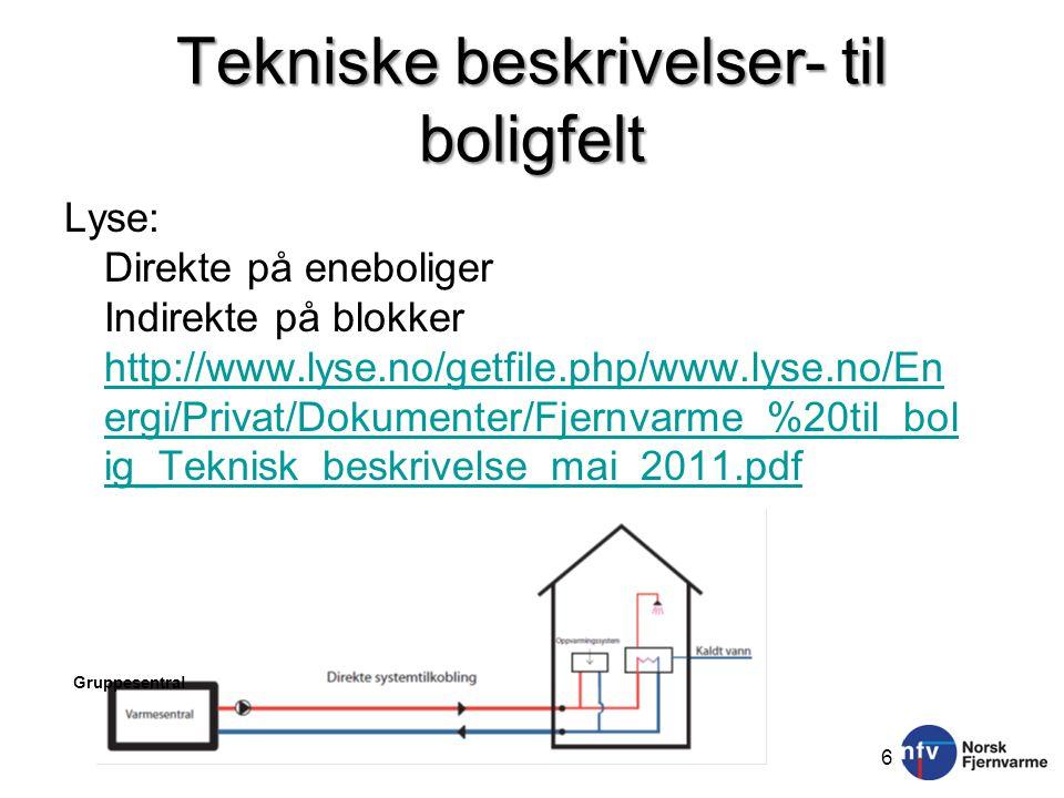 Tekniske beskrivelser- til boligfelt Lyse: Direkte på eneboliger Indirekte på blokker http://www.lyse.no/getfile.php/www.lyse.no/En ergi/Privat/Dokumenter/Fjernvarme_%20til_bol ig_Teknisk_beskrivelse_mai_2011.pdf http://www.lyse.no/getfile.php/www.lyse.no/En ergi/Privat/Dokumenter/Fjernvarme_%20til_bol ig_Teknisk_beskrivelse_mai_2011.pdf 6 Gruppesentral