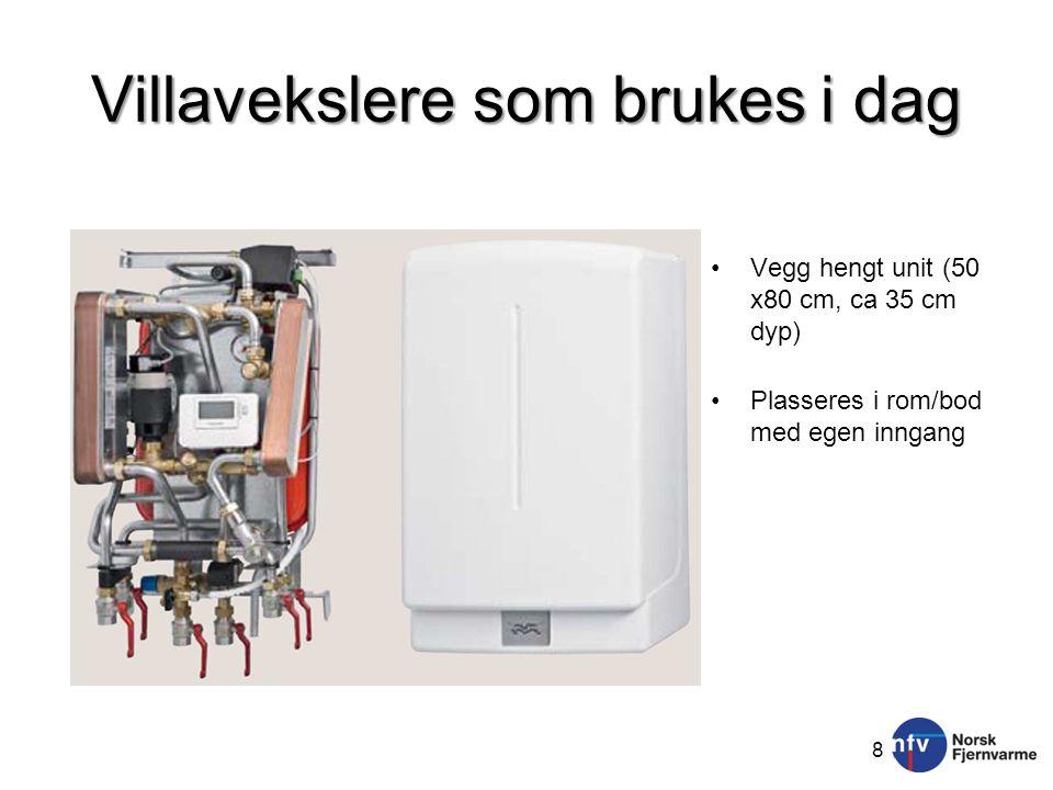 Villavekslere som brukes i dag 8 •Vegg hengt unit (50 x80 cm, ca 35 cm dyp) •Plasseres i rom/bod med egen inngang