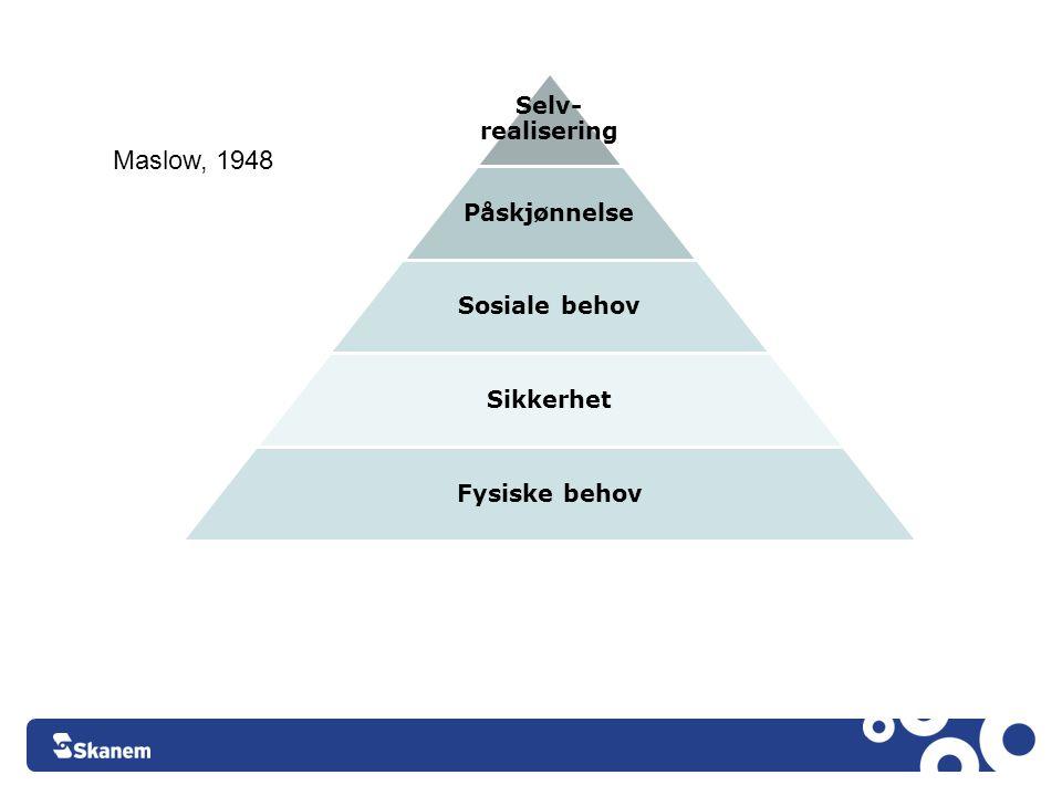 Selv- realiserin g Påskjønnelse Sosiale behov Sikkerhet Fysiske behov Facebook Maslow, 1948