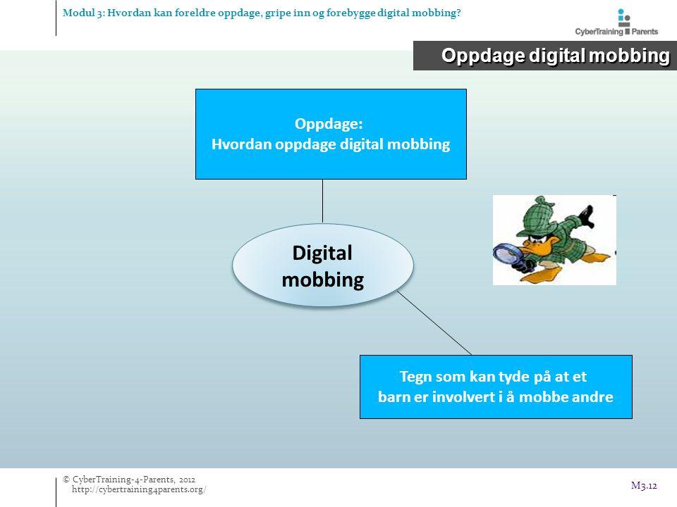 Digital mobbing Oppdage: Hvordan oppdage digital mobbing Tegn som kan tyde på at et barn er involvert i å mobbe andre Oppdage digital mobbing Modul 3: