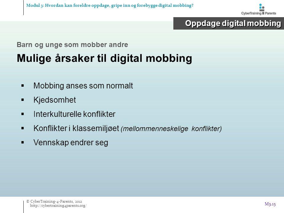  Mobbing anses som normalt  Kjedsomhet  Interkulturelle konflikter  Konflikter i klassemiljøet (mellommenneskelige konflikter)  Vennskap endrer seg Oppdage digital mobbing Modul 3: Hvordan kan foreldre oppdage, gripe inn og forebygge digital mobbing.