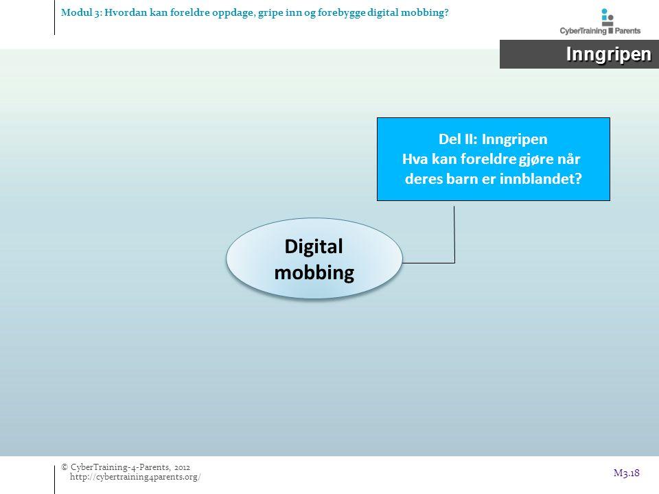 Digital mobbing Del II: Inngripen Hva kan foreldre gjøre når deres barn er innblandet? Modul 3: Hvordan kan foreldre oppdage, gripe inn og forebygge d