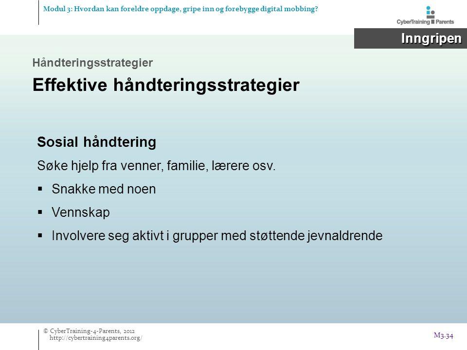 Modul 3: Hvordan kan foreldre oppdage, gripe inn og forebygge digital mobbing? Inngripen Inngripen Håndteringsstrategier Effektive håndteringsstrategi