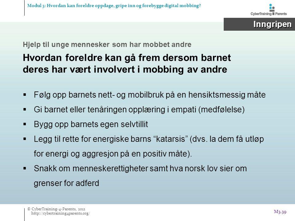 Modul 3: Hvordan kan foreldre oppdage, gripe inn og forebygge digital mobbing? Inngripen Inngripen  Følg opp barnets nett- og mobilbruk på en hensikt