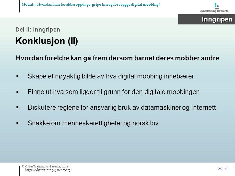 Hvordan foreldre kan gå frem dersom barnet deres mobber andre  Skape et nøyaktig bilde av hva digital mobbing innebærer  Finne ut hva som ligger til grunn for den digitale mobbingen  Diskutere reglene for ansvarlig bruk av datamaskiner og Internett  Snakke om menneskerettigheter og norsk lov Del II: Inngripen Konklusjon (II) Modul 3: Hvordan kan foreldre oppdage, gripe inn og forebygge digital mobbing.