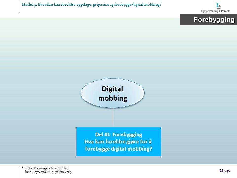 Digital mobbing Del III: Forebygging Hva kan foreldre gjøre for å forebygge digital mobbing? Modul 3: Hvordan kan foreldre oppdage, gripe inn og foreb