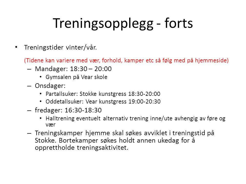Treningsopplegg - forts • Treningstider vinter/vår.