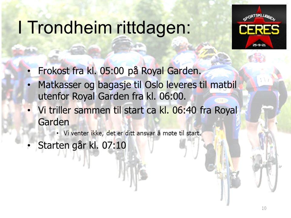 I Trondheim fredag • Mat kjøpes i Trondheim • Du må smøre mat og fylle opp flasker fredag • Foringskassene skal inneholde alt du trenger av mat og drikke.