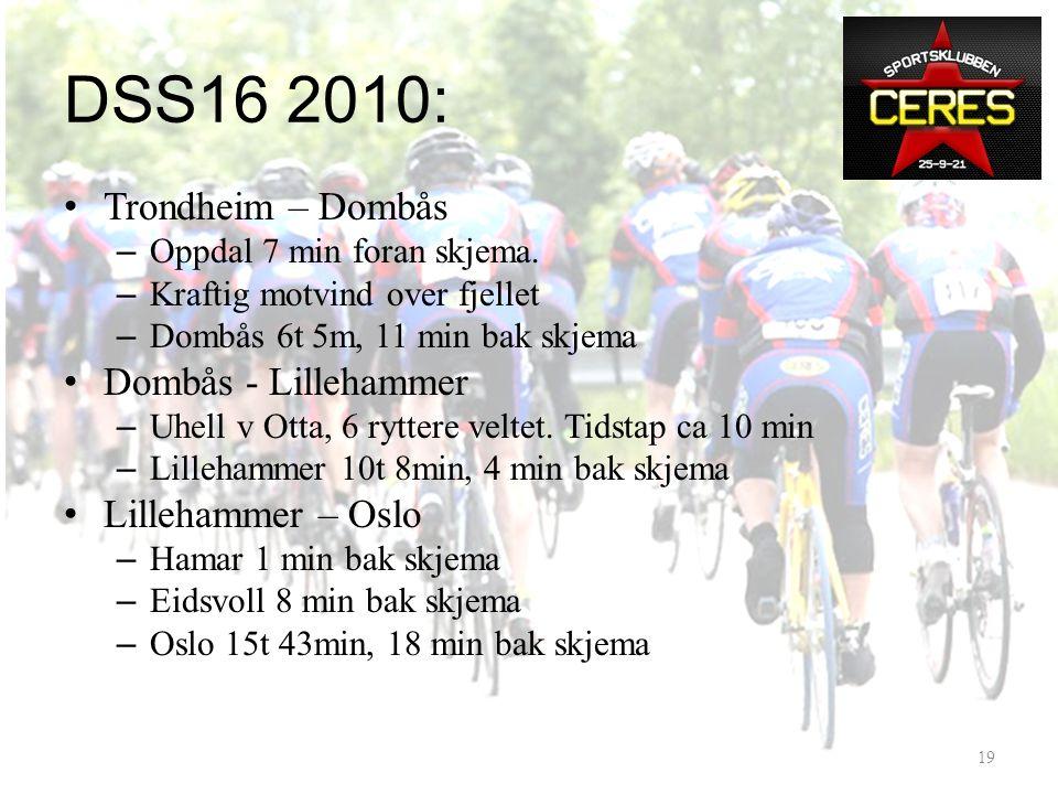 DSS16 2010: Mål 2010: – Få en fin tur nedover – Tid 15:30 – Tiendeplass lagkonkurranse – Pallplass • Resultat: – 15:43 – Nr 14 – Andreplass K35-39 18