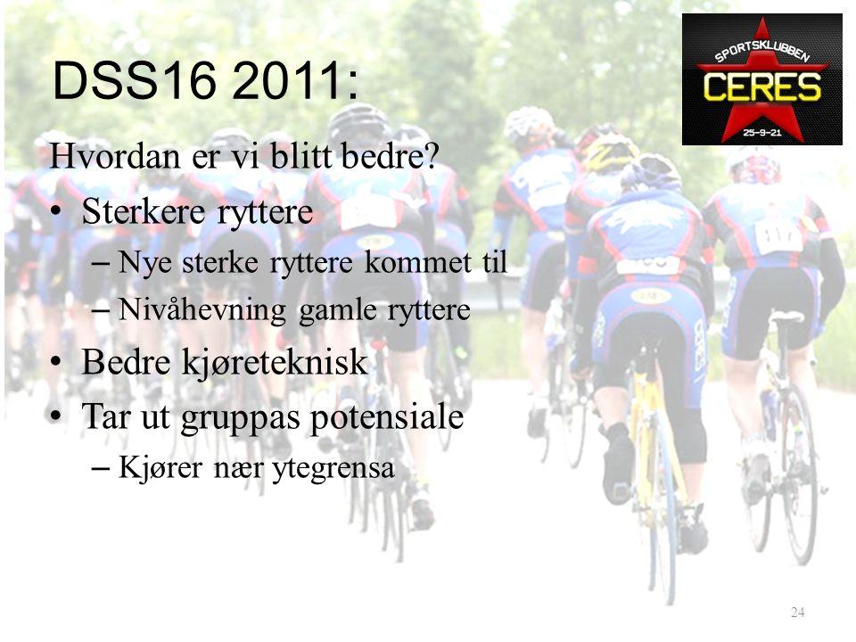 DSS16 2011: Hvor står vi? – 2009: 25 ryttere, ca15 arbeidsjern – 2011: Bare arbeidsjern ! • Prestasjoner: – Enebakk -2 min. 2:00/1:48 vs 2:09 / 1:55 –