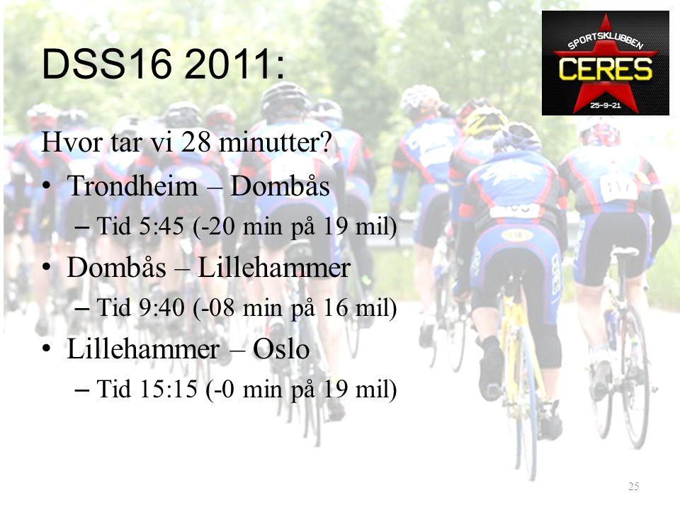 DSS16 2011: Hvordan er vi blitt bedre? • Sterkere ryttere – Nye sterke ryttere kommet til – Nivåhevning gamle ryttere • Bedre kjøreteknisk • Tar ut gr