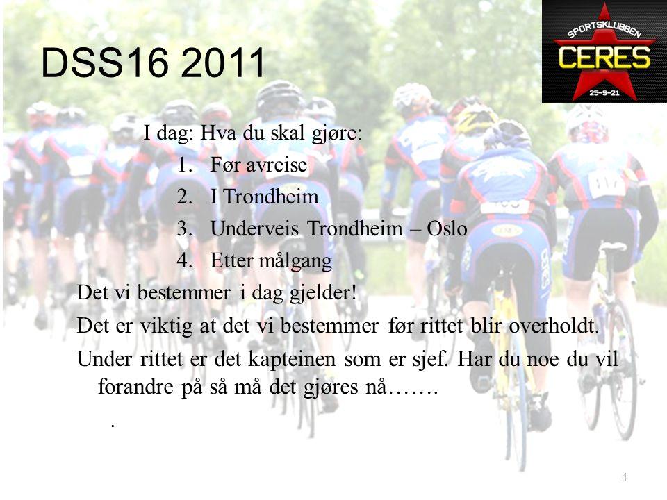 DSS16 2011 • Et prosjekt med basis i DSS16 2009. • Målsetning 2011: Sluttid15:14:59 • Kapteiner: Ole Loftesnes, Kjetil Standal • Følgebilmannskap: – J