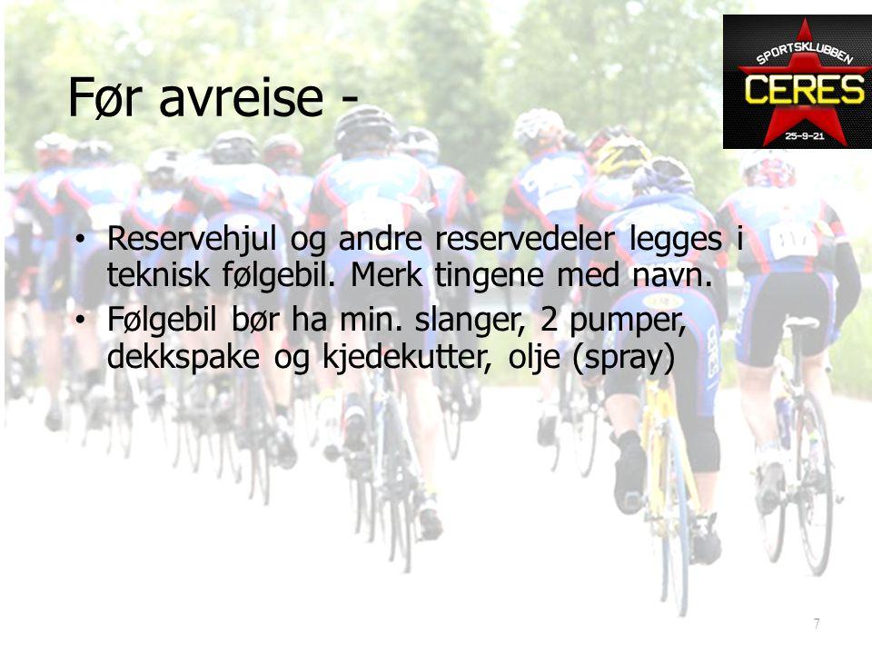 • Sykkelen skal ha pleie før avreise: – bremser, gir, dekk, hjul, kjede. • Vær presis til alle frister. • Sykkeltransport. • Transport av sykler og re