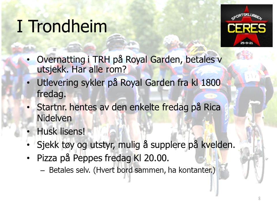 I Trondheim • Overnatting i TRH på Royal Garden, betales v utsjekk.