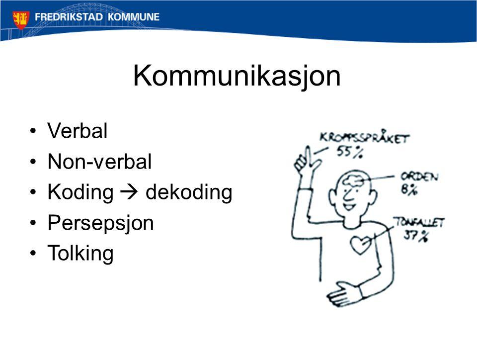 Kommunikasjon •Verbal •Non-verbal •Koding  dekoding •Persepsjon •Tolking