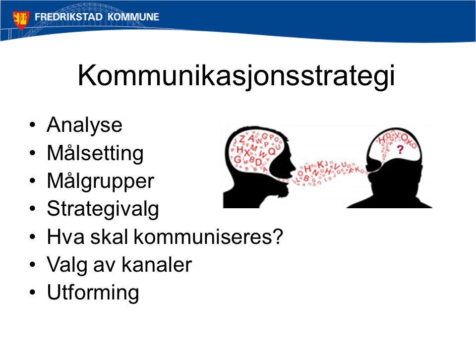 Kommunikasjonsstrategi •Analyse •Målsetting •Målgrupper •Strategivalg •Hva skal kommuniseres? •Valg av kanaler •Utforming