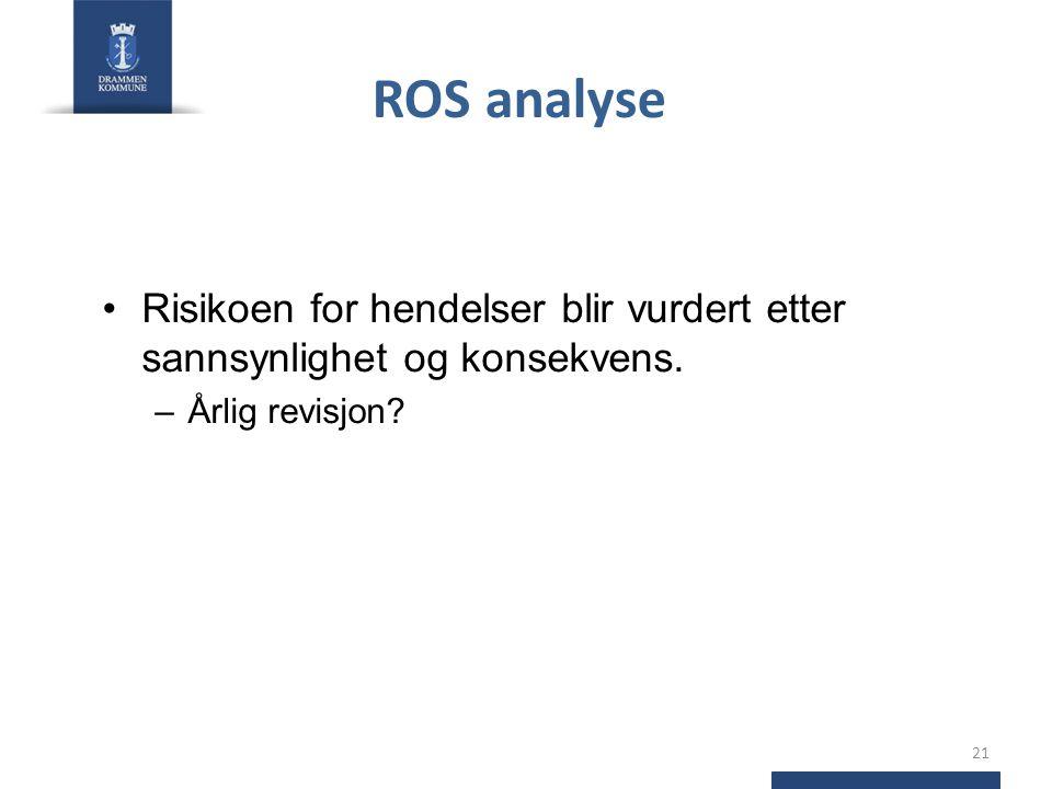 ROS analyse •Risikoen for hendelser blir vurdert etter sannsynlighet og konsekvens. –Årlig revisjon? 21