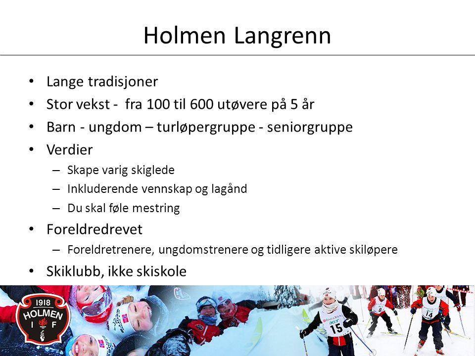 Holmen Langrenn • Lange tradisjoner • Stor vekst - fra 100 til 600 utøvere på 5 år • Barn - ungdom – turløpergruppe - seniorgruppe • Verdier – Skape varig skiglede – Inkluderende vennskap og lagånd – Du skal føle mestring • Foreldredrevet – Foreldretrenere, ungdomstrenere og tidligere aktive skiløpere • Skiklubb, ikke skiskole