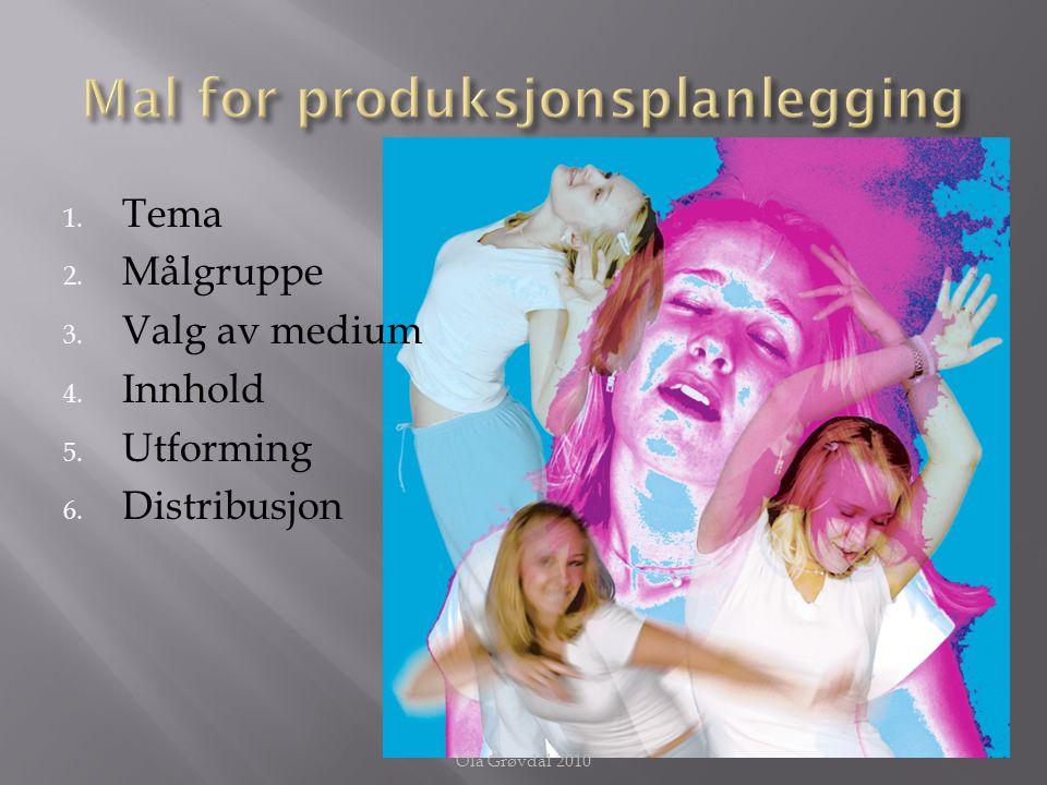  Tema for medieproduksjonen blir ofte definert av oppdragsgiver  Sjølvalgt tema: formuler temaet slik at du kan kommunisere det til andre på en forståelig måte Ola Grøvdal 2010