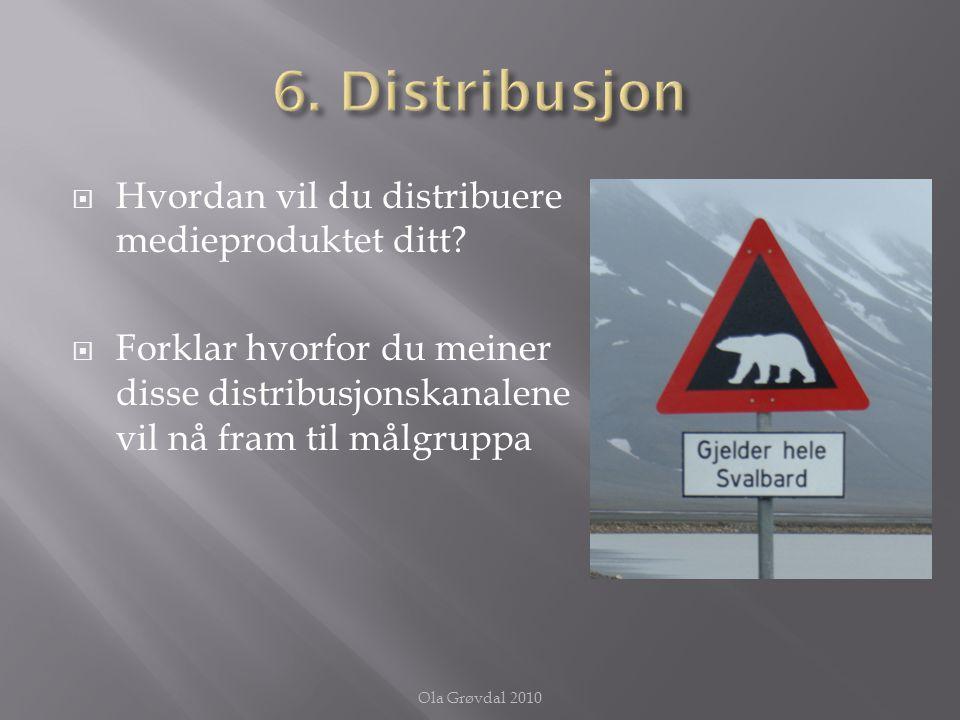  Hvordan vil du distribuere medieproduktet ditt?  Forklar hvorfor du meiner disse distribusjonskanalene vil nå fram til målgruppa Ola Grøvdal 2010