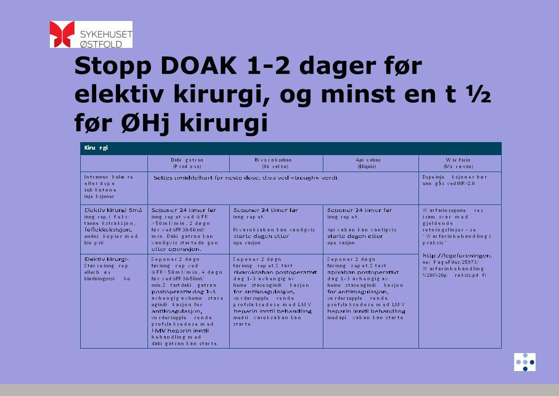 Konklusjon • Rask økning i bruk av DOAK • Rapporteres dødelige fall • Unngå bruk ved situsjoner som kan øke risikoen for blødning/feilbruk • Pasienten må følges opp • Informasjon til pasientene - og til legene