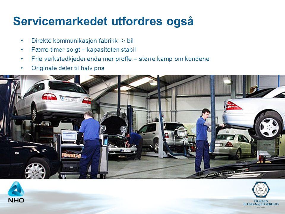 Servicemarkedet utfordres også •Direkte kommunikasjon fabrikk -> bil •Færre timer solgt – kapasiteten stabil •Frie verkstedkjeder enda mer proffe – st