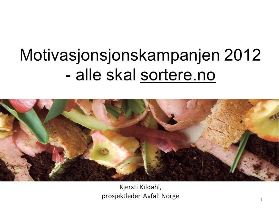 Motivasjonsjonskampanjen 2012 - alle skal sortere.no Kjersti Kildahl, prosjektleder Avfall Norge Holdningsanalysen: Om tiltro og tillit til miljøgevin