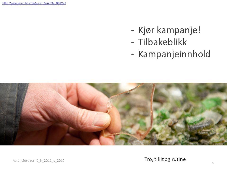 Holdningsanalysen: Om tiltro og tillit til miljøgevinst og gjenvinning -Kjør kampanje! -Tilbakeblikk -Kampanjeinnhold Tro, tillit og rutine http://www