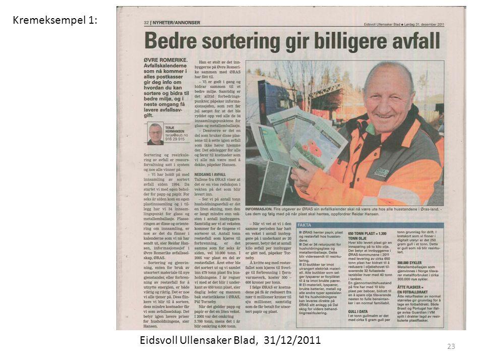 Kremeksempel 1: Eidsvoll Ullensaker Blad, 31/12/2011 23