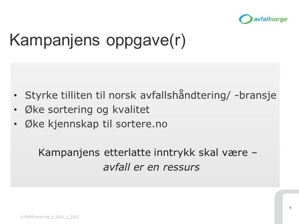 Kampanjens oppgave(r) • Styrke tilliten til norsk avfallshåndtering/ -bransje • Øke sortering og kvalitet • Øke kjennskap til sortere.no Kampanjens et