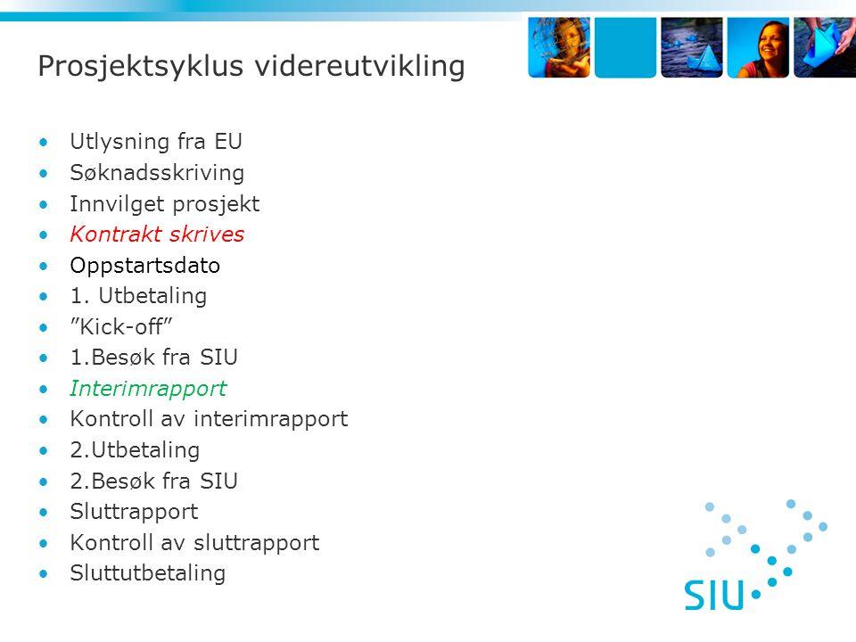 Prosjektsyklus videreutvikling •Utlysning fra EU •Søknadsskriving •Innvilget prosjekt •Kontrakt skrives •Oppstartsdato •1.