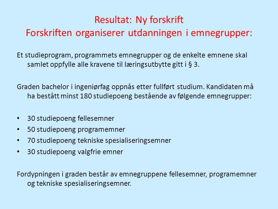 Resultat: Ny forskrift Forskriften organiserer utdanningen i emnegrupper: Et studieprogram, programmets emnegrupper og de enkelte emnene skal samlet o