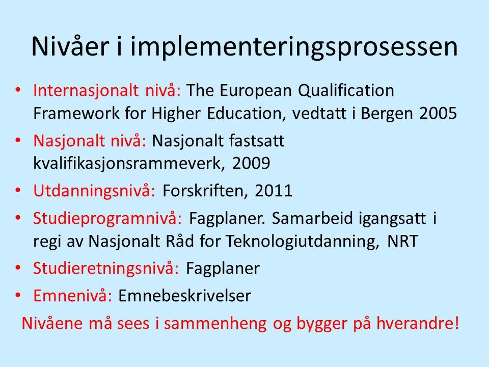Nivåer i implementeringsprosessen • Internasjonalt nivå: The European Qualification Framework for Higher Education, vedtatt i Bergen 2005 • Nasjonalt