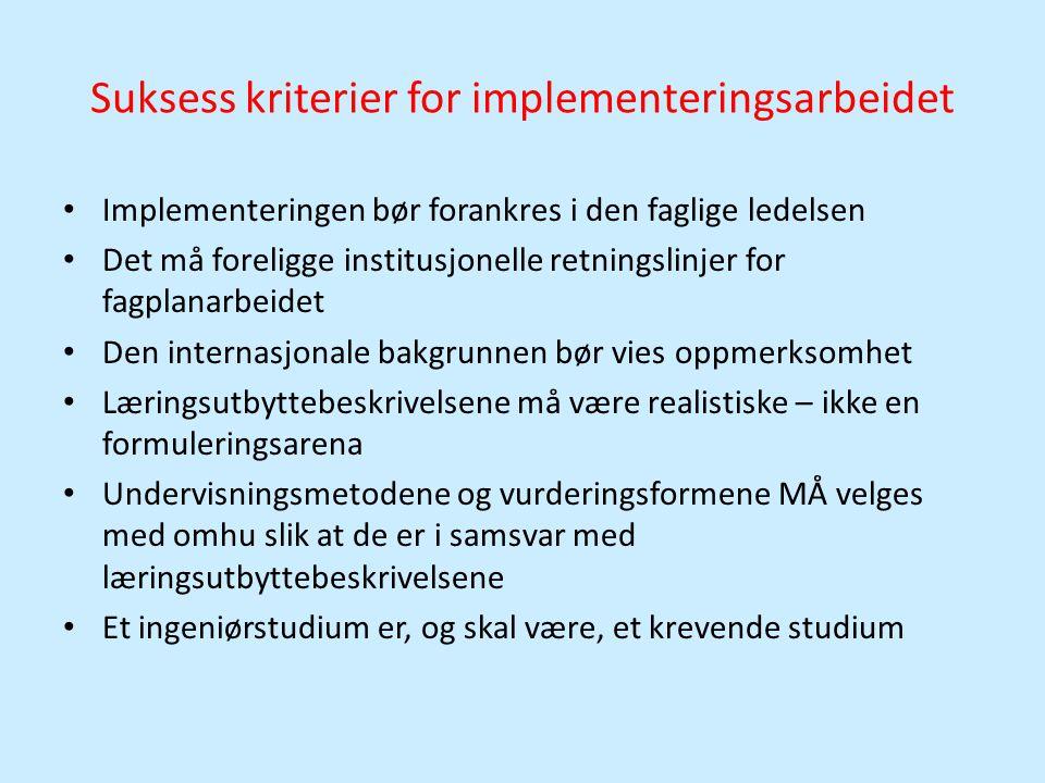 Suksess kriterier for implementeringsarbeidet • Implementeringen bør forankres i den faglige ledelsen • Det må foreligge institusjonelle retningslinje