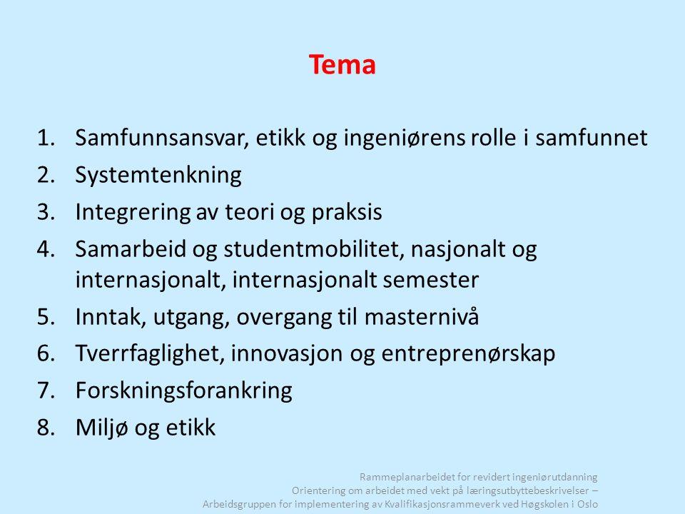 Tema 1.Samfunnsansvar, etikk og ingeniørens rolle i samfunnet 2.Systemtenkning 3.Integrering av teori og praksis 4.Samarbeid og studentmobilitet, nasj