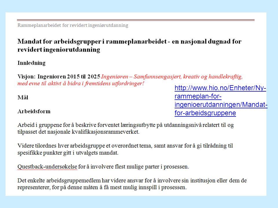 http://www.hio.no/Enheter/Ny- rammeplan-for- ingenioerutdanningen/Mandat- for-arbeidsgruppene