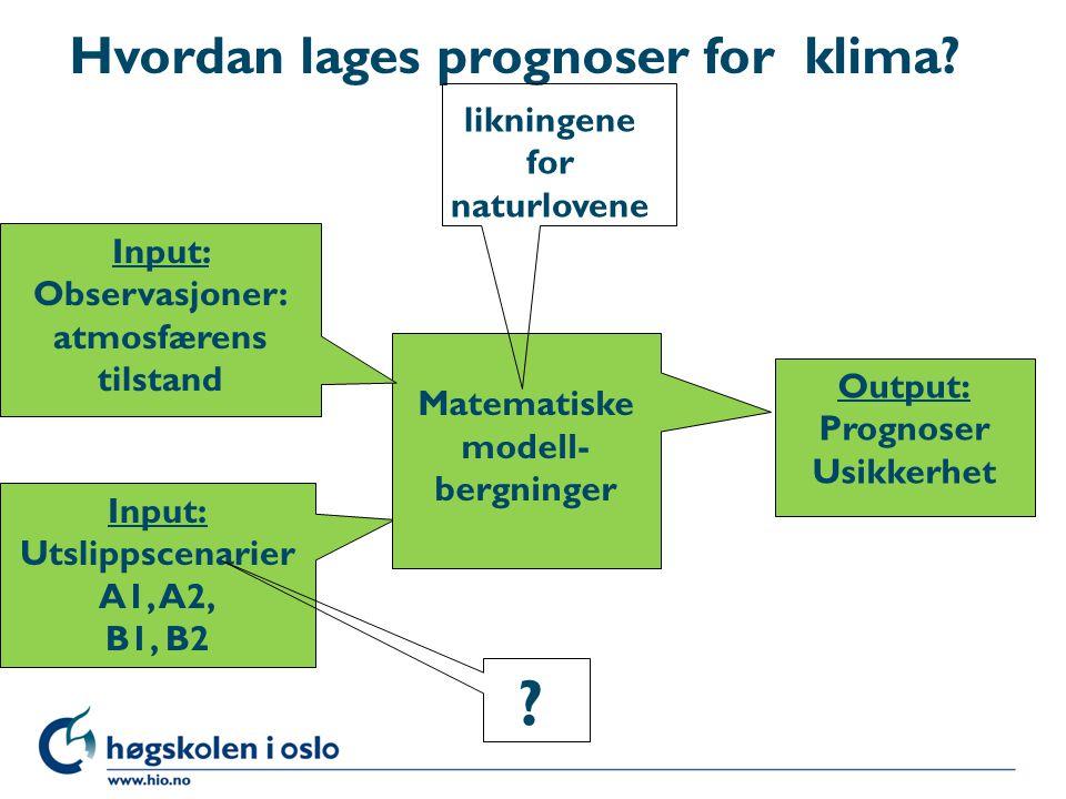 Input: Utslippscenarier A1, A2, B1, B2 Matematiske modell- bergninger Output: Prognoser Usikkerhet Input: Observasjoner: atmosfærens tilstand Hvordan