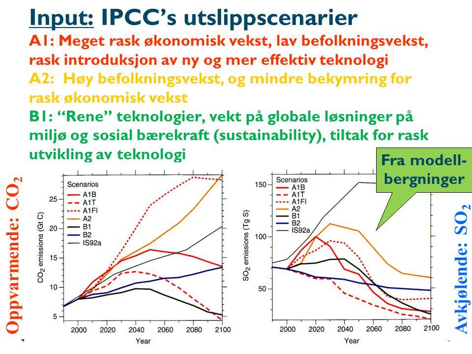 Input: IPCC's utslippscenarier A1: Meget rask økonomisk vekst, lav befolkningsvekst, rask introduksjon av ny og mer effektiv teknologi A2: Høy befolkn
