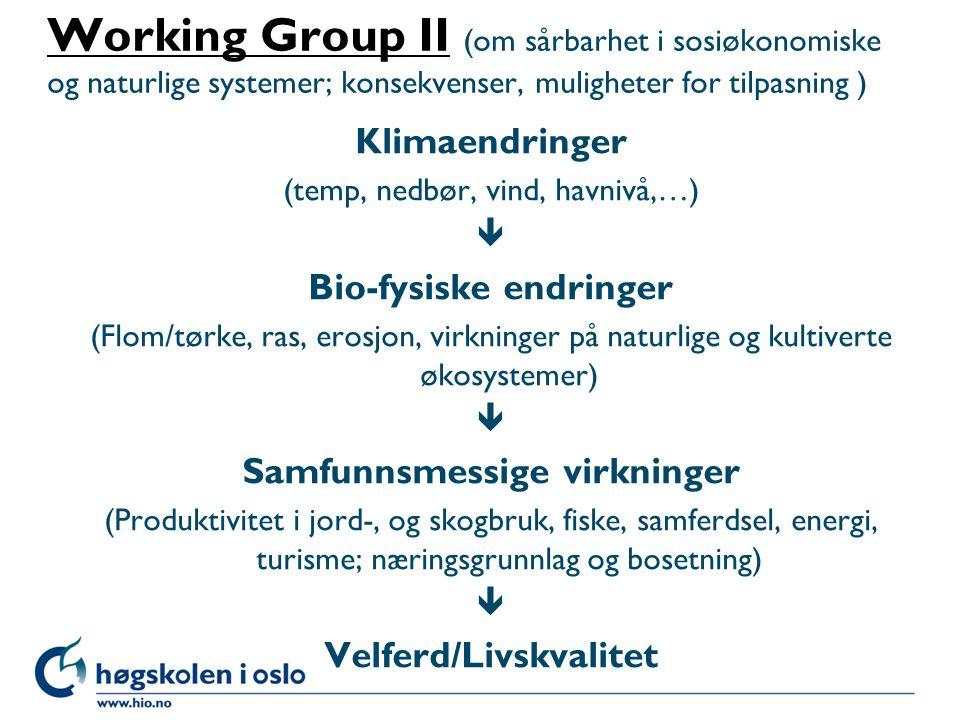 Working Group IIWorking Group II (om sårbarhet i sosiøkonomiske og naturlige systemer; konsekvenser, muligheter for tilpasning ) Klimaendringer (temp,