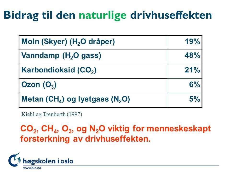 Bidrag til den naturlige drivhuseffekten Moln (Skyer) (H 2 O dråper)19% Vanndamp (H 2 O gass)48% Karbondioksid (CO 2 )21% Ozon (O 3 )6% Metan (CH 4 )
