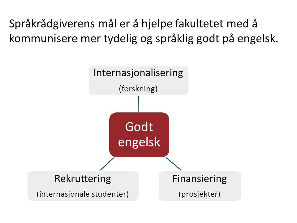 Godt engelsk Internasjonalisering (forskning) Rekruttering (internasjonale studenter) Finansiering (prosjekter) Språkrådgiverens mål er å hjelpe fakultetet med å kommunisere mer tydelig og språklig godt på engelsk.