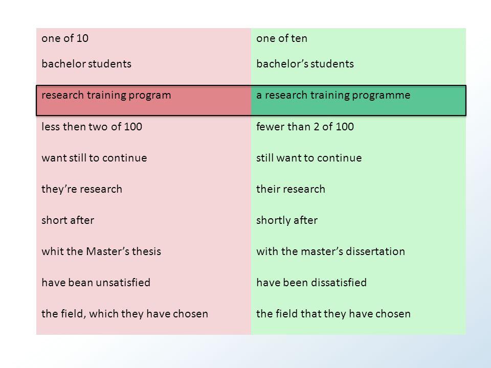 Hvor mange feil.More than one of 10 bachelor students plan to enrol in research training program.