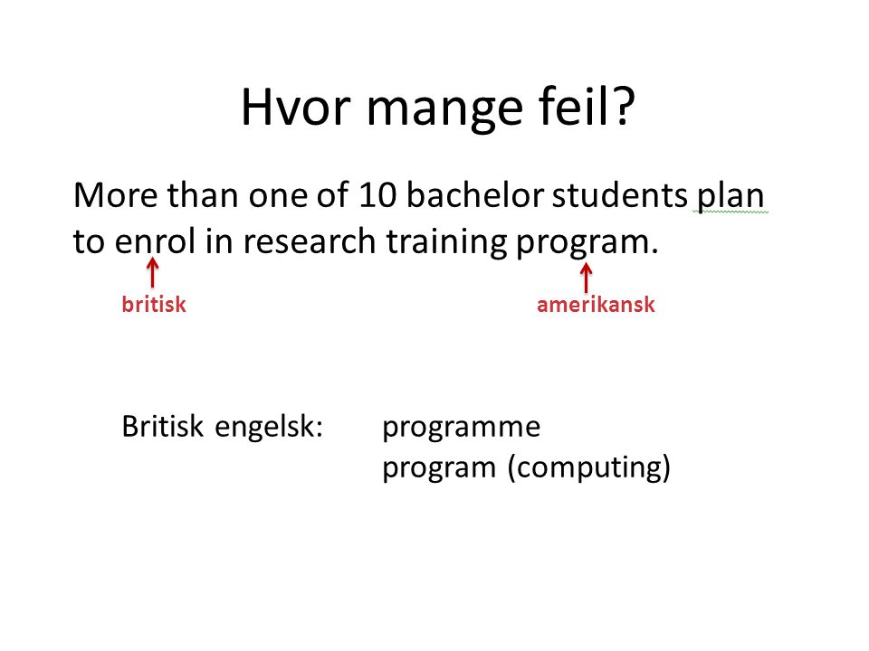 Hvor mange feil.More than one of 10 bachelor students plan to enrol in research training program.