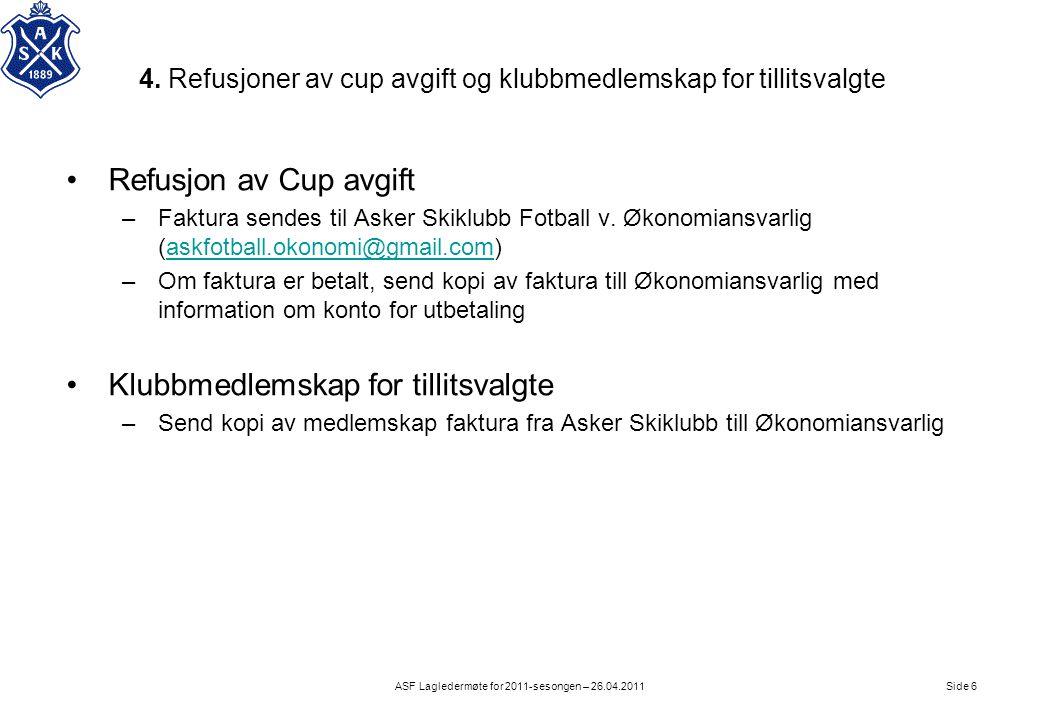 4. Refusjoner av cup avgift og klubbmedlemskap for tillitsvalgte Side 6ASF Lagledermøte for 2011-sesongen – 26.04.2011 •Refusjon av Cup avgift –Faktur
