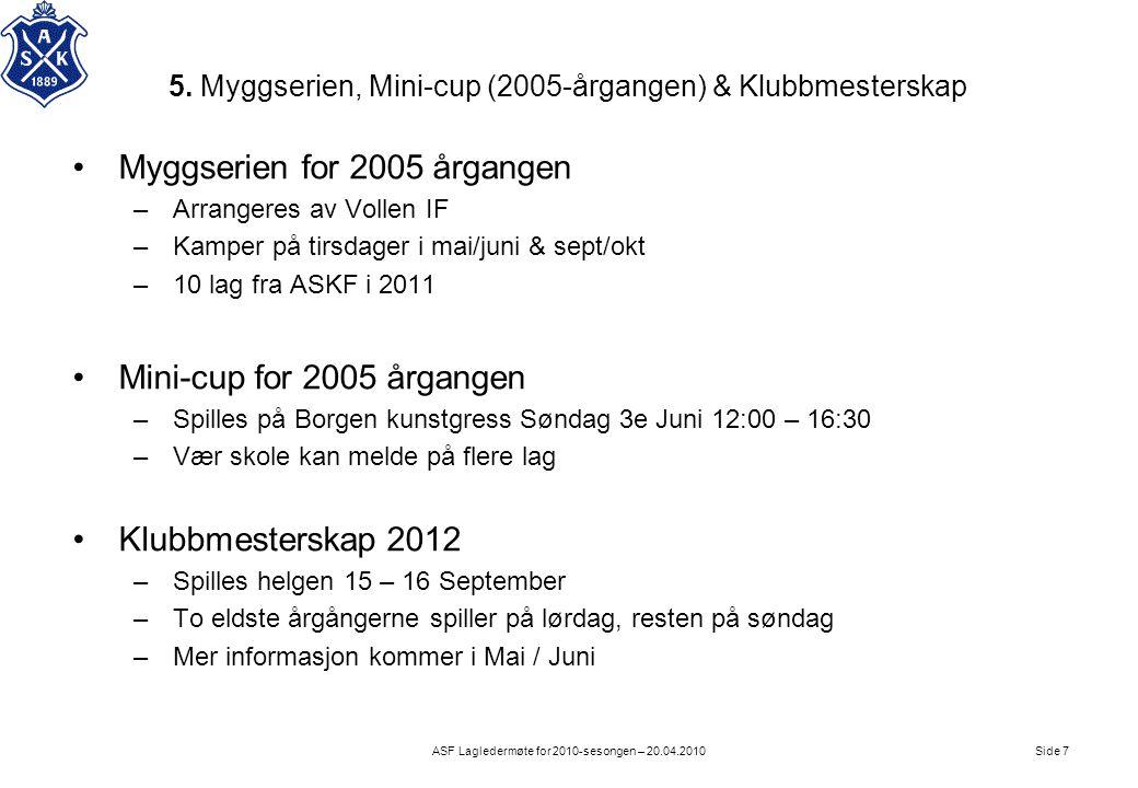5. Myggserien, Mini-cup (2005-årgangen) & Klubbmesterskap Side 7ASF Lagledermøte for 2010-sesongen – 20.04.2010 •Myggserien for 2005 årgangen –Arrange