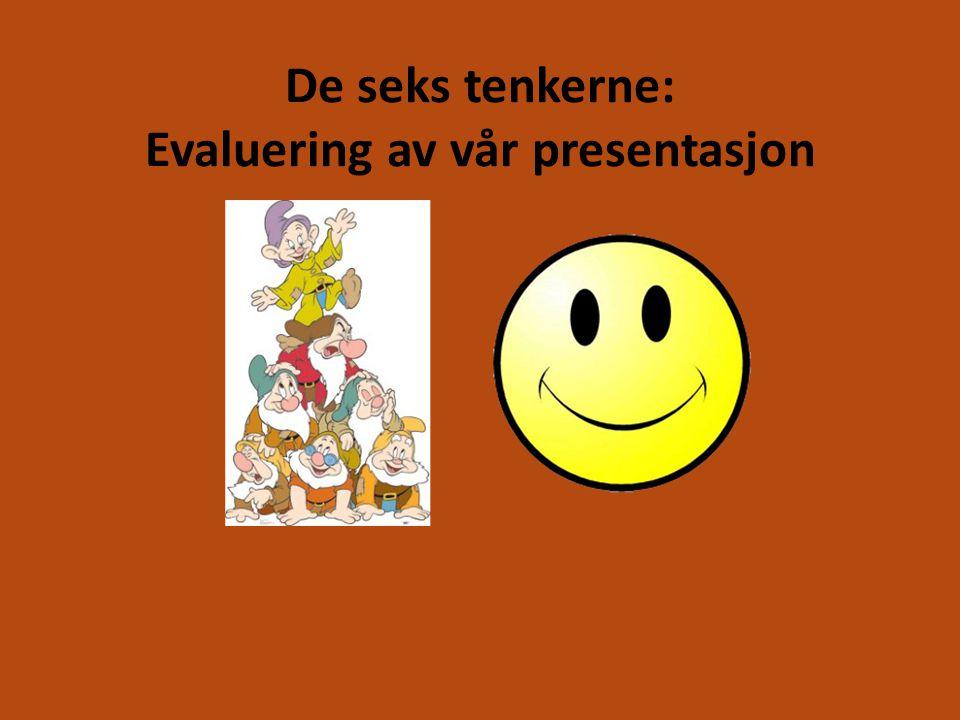 De seks tenkerne: Evaluering av vår presentasjon