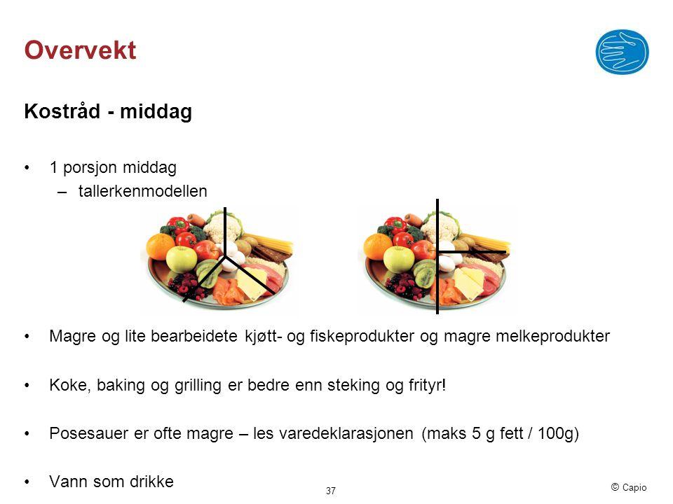 © Capio Overvekt Kostråd - middag •1 porsjon middag –tallerkenmodellen •Magre og lite bearbeidete kjøtt- og fiskeprodukter og magre melkeprodukter •Ko