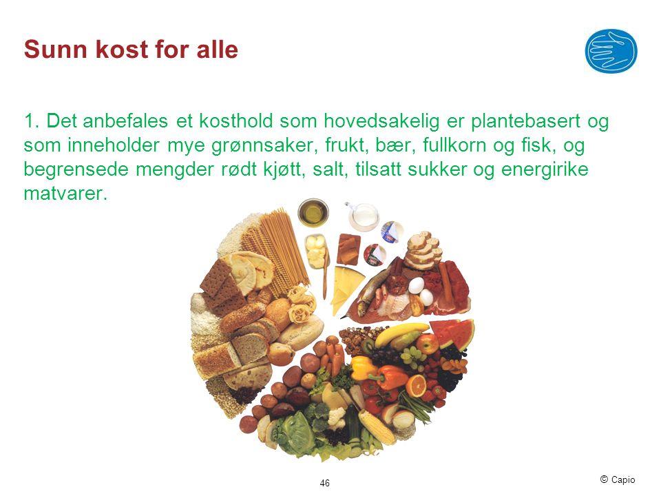 © Capio Sunn kost for alle 1. Det anbefales et kosthold som hovedsakelig er plantebasert og som inneholder mye grønnsaker, frukt, bær, fullkorn og fis